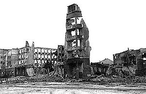 Aftermath of World War II - Ruins in Stalingrad, typical of the destruction in many Soviet cities.