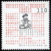 Deutsche Briefmarke (2000) zum 600. Geburtstag Gutenbergs. (Quelle: Wikimedia)