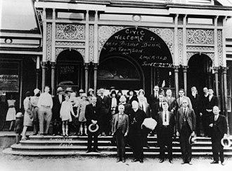 Emerald railway station, Queensland - Civic welcome at Emerald railway station, 1931
