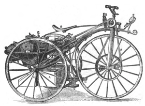 Michaux-Perreaux steam velocipede - Drawing of tricycle version, circa 1884
