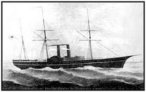 Pacific Mail Steamship Company - The S.S. Golden Gate entered the San Francisco to Panama City service in November 1851 and was lost off Manzanillo, Mexico on July 27, 1862.
