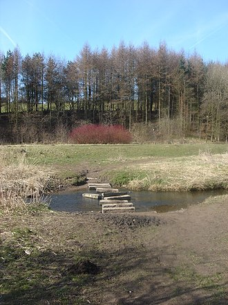 Clayton-le-Woods - Image: Stepping stones over the River Lostock at Clayton Bridge geograph.org.uk 140686