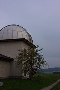 View of the dome-shaped Zimmerwald Obeservatory