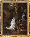 Stilleben med död svan, en påfågel och en hund vid en trädgårdsfontän (Jan Weenix) - Nationalmuseum - 180011.tif