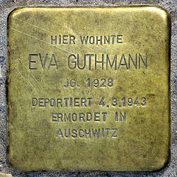 Photo of Eva Guthmann brass plaque
