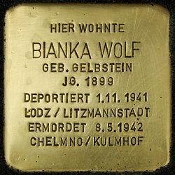 Photo of Bianka Wolf brass plaque
