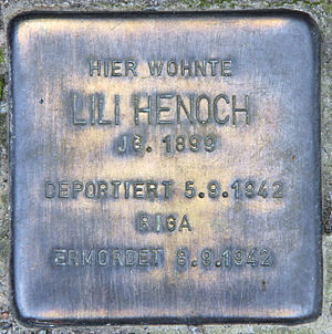 Lilli Henoch - Stolperstein in front of house at Treuchtlinger Straße 5, Berlin-Schöneberg