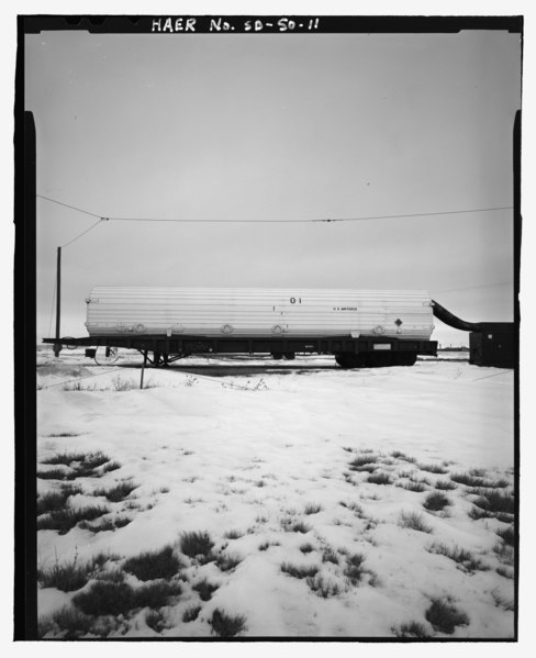 File:Storage and shipping container, ballistic missile, mounted on ballistic missile trailer, view from left side - Ellsworth Air Force Base, Delta Flight, 10 mile radius around Exit 127 off HAER SD-50-11.tif