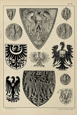 Eagle (heraldry) - Examples of heraldic eagles of the 13th to 16th centuries, from Hugo Gerard Ströhl's Heraldischer Atlas