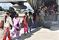 Stranded students rescued and being taken in an IAF Super Hercules C130J at Air Force Station, in Srinagar on September 13, 2014.jpg