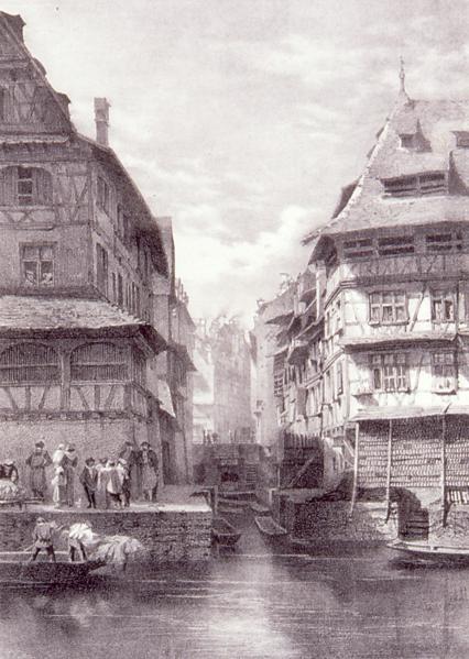 Fichier:Strasbg, Fossé des tanneurs, Kreutzberger, 1855.png