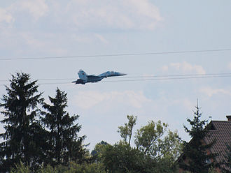 Radom Air Show - 2009. Belarusian Air Force's Su-27UBM seconds before it crashes