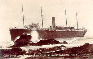 SS Suevic - Wreck of the White Star liner Suevic at the Lizard, Cornwall, 17 March 1907