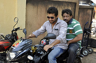 Suriya - Suriya with Ram Gopal Varma on the sets of Rakta Charitra