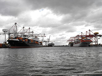 Swanson Dock - Four container ships berthed at the Swanson Dock in Melbourne, in 2013