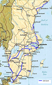 Highspeed Rail In Sweden Wikipedia - Sweden map wiki