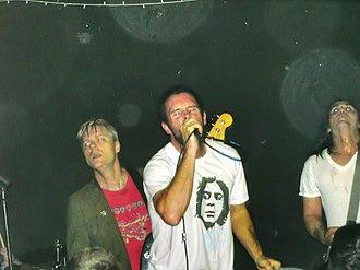"Swingin' Utters - Swingin' Utters at 924 Gilman St. on December 4, 2009. Left to right: Spike Slawson, Johnny ""Peebucks"" Bonnel, and Jack Dalrymple."