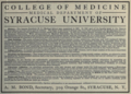 """Syracuse University College of Medicine (""""American medical directory"""", 1906 advert).png"""