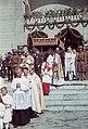 Szabadka 1941, Körmenet indul a ferences templomból (Barátok temploma). Fortepan 15228.jpg