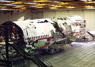 National Transportation Safety Board - TWA Flight 800 wreckage, as reconstructed by the NTSB