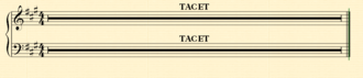 Tacet - How a tacet appears on sheet music