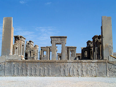 Tachara palace in Persepolis in Iran which was built under Darius I, and the Imperial treasury which was started by Darius in 510 BC and finished by Xerxes in 480 BC.