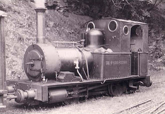 Talyllyn Railway - Locomotive No. 2 Dolgoch at Abergynolwyn in 1951, early in the preservation era