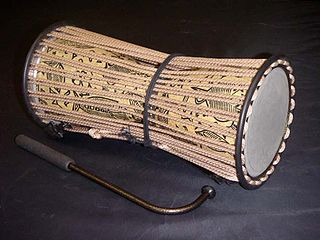 Talking drum hourglass-shaped West African drum