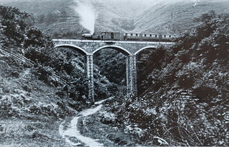Talyllyn Railway - Talyllyn posed on Dolgoch Viaduct around 1867, the earliest known photograph of the Talyllyn