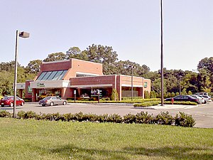 Commerce Bancorp - A former Commerce Bank in Tuckerton, New Jersey, that was rebranded as TD Bank in 2009. Almost every Commerce Bank branch was built in this style, and is recognizable even after the merger.