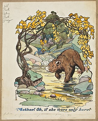 McLoughlin Brothers - In this artwork for Teddy the Bear by Sarah Noble Ives, printer's notes regarding ink colors can be seen in the top left.