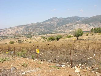 2000–06 Shebaa Farms conflict - Tel Faher mine fields, Golan Heights, with the Shebaa Farms in the background (2009)