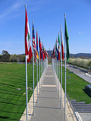 Many flags are displayed in the Parliamentary Triangle, Canberra, Australia
