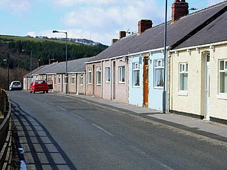 Waterhouses, County Durham - Image: Terraced cottages at Waterhouses, near Esh Winning geograph.org.uk 146423