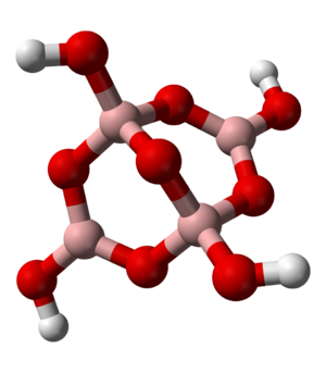 Borate - Tetraborate (borax) ion structure: pink, boron; red, oxygen; white, hydrogen. This tetrameric boron structure comprises two boron atoms in tetrahedral configuration sharing one common oxygen atom and linked by other oxygens to two other boron atoms present in trigonal configuration. Three cycles are also visible: two with 3 boron atoms and one with 4 boron atoms.