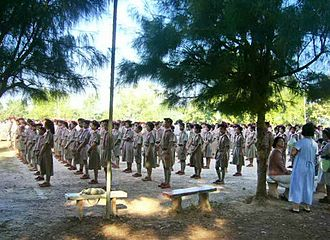 National Scout Organization of Thailand - Thai pupils in Scouting dress gathering at Na Wa High School, Nakhon Phanom province (Isan)