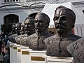 The Busts of the thirteen martyrs of Arad (left group) in the courtyard of the Museum of Military History. - Arpad Toth Promenade 40, Buda Castle Quarter, Budapest.JPG
