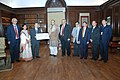 The Chairman, Life Insurance Corporation (LIC) of India, Shri S.K. Roy presenting the dividend cheque of Rs.1634, 89, 57, 602.00 to the Union Minister for Finance, Corporate Affairs and Information & Broadcasting.jpg