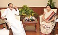 The Chief Minister of Gujarat, Smt. Anandiben Patel meeting the Union Minister for Urban Development, Housing and Urban Poverty Alleviation and Parliamentary Affairs, Shri M. Venkaiah Naidu, in New Delhi on August 08, 2014.jpg