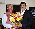 The Chief Minister of Uttarakhand, Shri Trivendra Singh Rawat meeting the Minister of State for Youth Affairs and Sports (IC) and Information & Broadcasting, Col. Rajyavardhan Singh Rathore, in New Delhi on November 24, 2017 (1).jpg