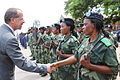 The Head of MONUSCO and Special Representative of the Secretary-General in the D.R. Congo, Martin Kobler, greets female soldiers of the Congolese Armed Forces (12220181136).jpg