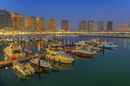 The Pearl-Qatar is an artificial island spanning nearly four square kilometers. The Pearl Marina in Nov 2013.jpg