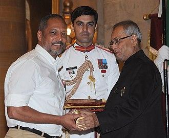 Nana Patekar - The President, Pranab Mukherjee presenting the Padma Shri Award to Nana Patekar, at an Investiture Ceremony, at Rashtrapati Bhavan, in New Delhi on 20 April 2013