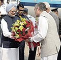 The Prime Minister, Dr. Manmohan Singh being received by the Chief Ministers of Jammu and Kashmir, Shri Omar Abdullah, on his arrival at Udhampur airport, in Jammu and Kashmir on June 25, 2013.jpg