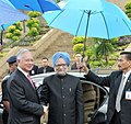 The Prime Minister, Dr. Manmohan Singh being received by the Malaysian Prime Minister Dato' Sri Mohd Najib Bin Tun Abdul Razak, on his arrival, at Putrajaya, the Prime Minister Office, in Malaysia on October 27, 2010.jpg