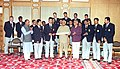 The Prime Minister Shri Atal Bihari Vajpayee with the members of Indian Cricket Team before its departure for Pakistan in New Delhi on March 10, 2004.jpg