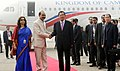 The Prime Minister of the Kingdom of Cambodia, Mr. Samdech Akka Moha Sena Padei Techo Hun Sen being received by the Minister of State for Textiles, Shri Ajay Tamta, on his arrival, in New Delhi on January 24, 2018.jpg
