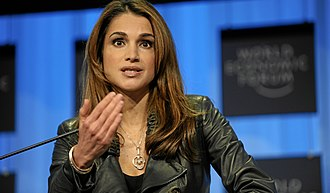 Leather jacket - Queen Rania of Jordan in a leather jacket at the 2010 World Economic Forum.