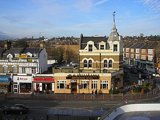 Raynes Park - The Raynes Park Tavern from the high footbridge at the station