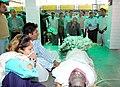 The Secretary, Ministry of Information and Broadcasting, Shri S. K. Arora laying wreath at the mortal remains of the Press Registrar of India, Shri Amitabha Chakrabarti, IIS, (who expired on yesterday at Varanasi).jpg